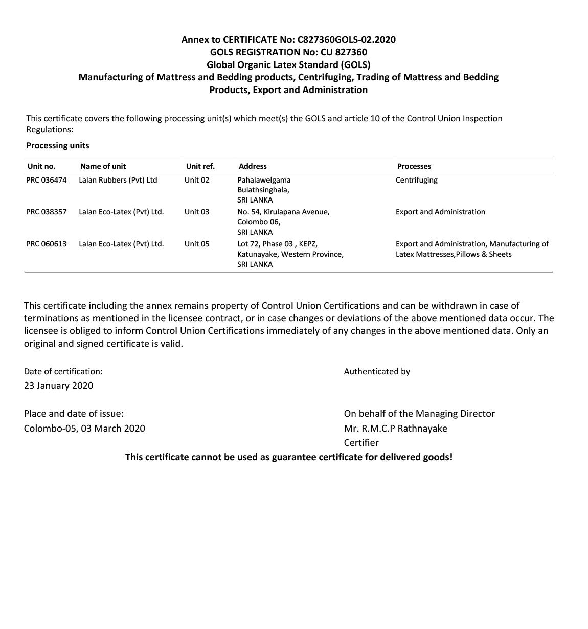 Global Organic Latex Certification