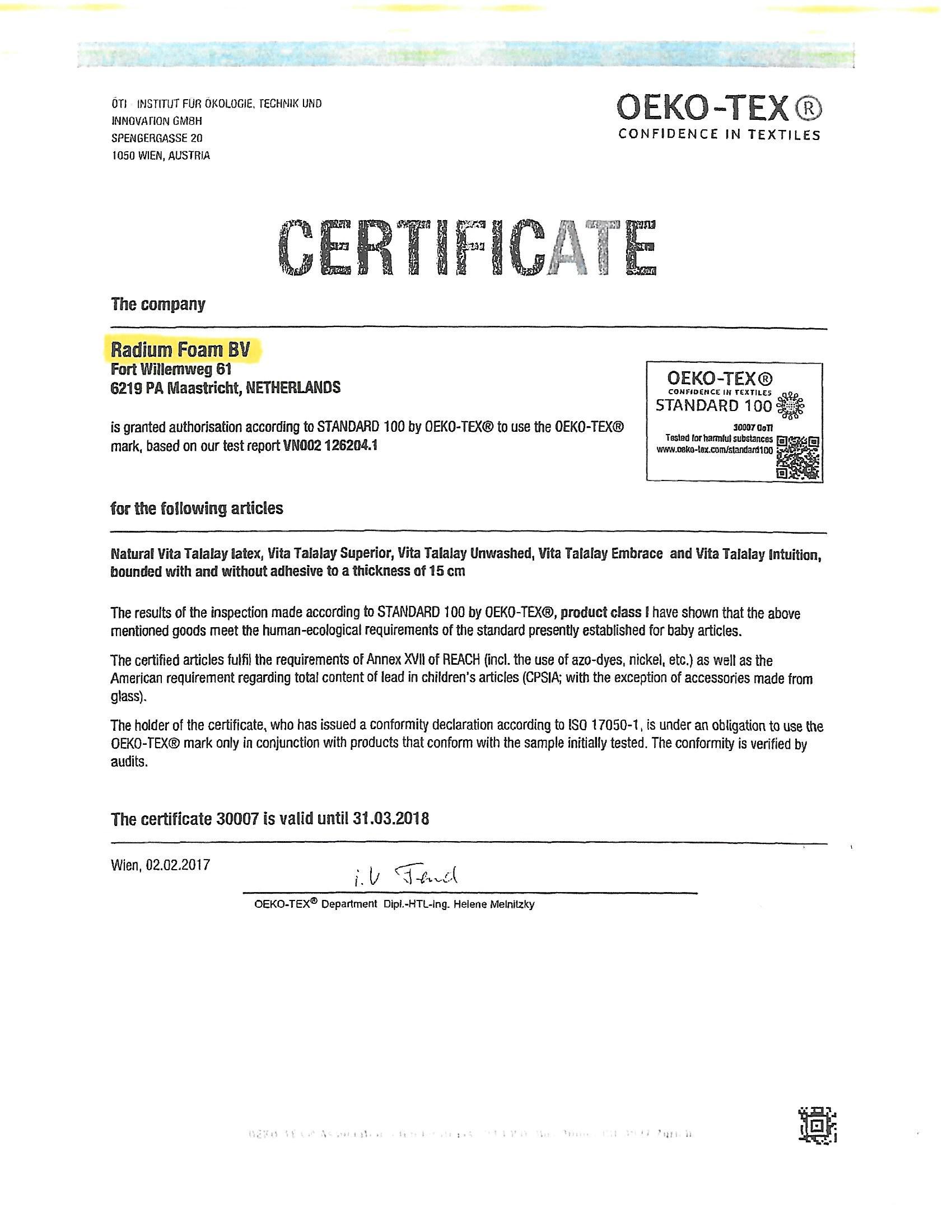 Talalay Oeko Tex Certifications